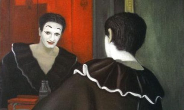 Mime Marceau devant sa glace: Huile sur toile, signée en bas à gauche. 115 x 88 cm